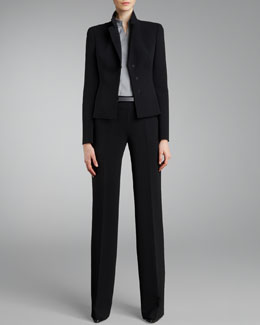 Akris Short Evening Jacket, Mandarin-Collar Poplin Blouse & Carla Classic Pants