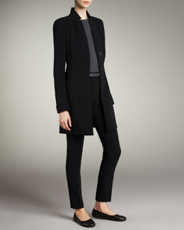Akris Long Button Jacket, Cashmere-Silk Short-Sleeve Top & Slim Ankle-Cut Pants
