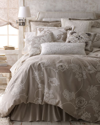 Queen Duvet Cover, Tan with Ivory Embroidery