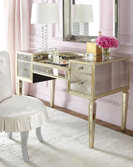 """Shelly"" Vanity Chair & ""Amelie"" Mirrored Vanity"