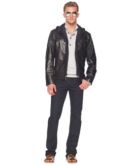 Michael Kors  Leather Jacket, Button/Zip Sweater & Modern-Fit Stretch Jeans