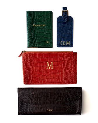 Crocodile-Embossed Leather Travel Accessories