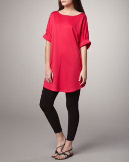 Joan Vass Rolled-Sleeve Tunic & Cropped Stretch Leggings, Women's