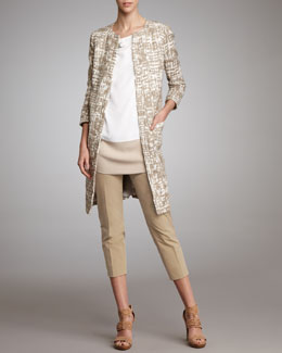 Piazza Sempione Printed Tweed Coat, Jeweled Colorblock Blouse & Audrey Capri Pants