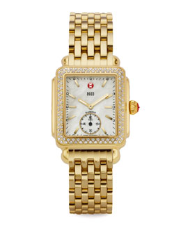 Michele Deco 16mm Diamond Gold Watch