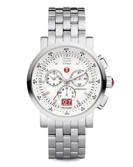 MICHELE Large Sport Sail Stainless Steel Watch, White