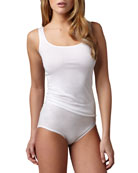 Cotton Seamless Tank & Briefs, White
