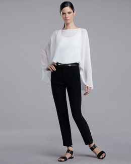 St. John Collection Crinkle-Silk Poncho Top & Emma Marocain Cropped Pants