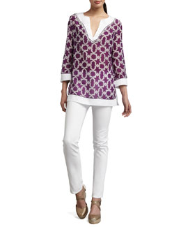 Lafayette 148 New York Printed Rubina Top & Curvy Slim Jeans
