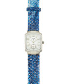 Diamond Watch Head & Blue Python Strap