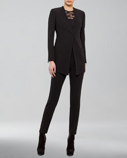 Akris Hook-and-Eye Jacket, Sleeveless Lace Top & Carla Classic Pants