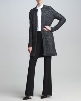 Escada Long Knit Jacket, Three-Quarter-Sleeve Blouse & Boot-Cut Pants