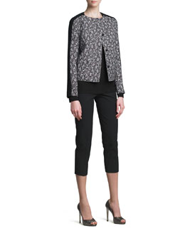 Piazza Sempione Tweed Jacket, Bracelet-Sleeve Tee & Audrey Capri Pants