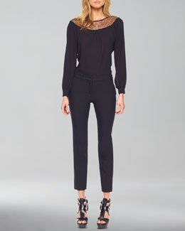 Michael Kors     Lace-Inset Long-Sleeve Blouse & Samantha Skinny Pants