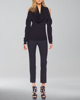 Michael Kors   Cold-Shoulder Cowl-Neck Top & Samantha Skinny Pants