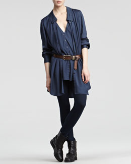 Donna Karan Sport Satin Top, Seamed Stretch Pants & Extra-Long Distressed Leather Belt