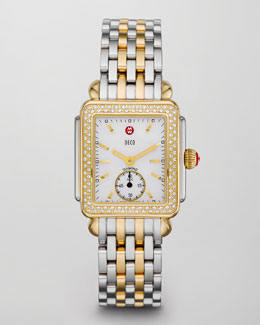 Michele Two-Tone Diamond Deco Watch Head & Bracelet Strap