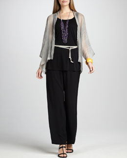 Eileen Fisher Sheer Crinkled Jacket, Silk-Jersey Tunic, Suede Tie Belt & Straight-Leg Pants, Women's