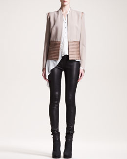 Helmut Lang Suiting Combo Jacket, Lush Voile Top & Stretch-Leather Skinny Pants
