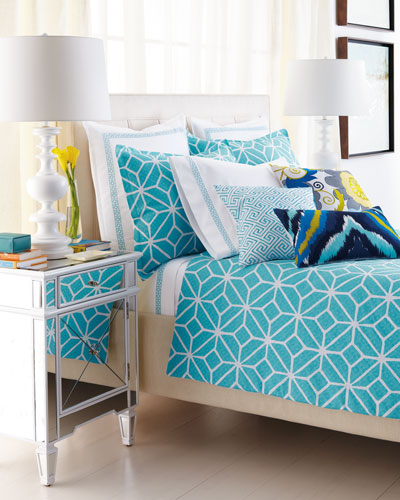 """Trina Turk Turquoise and White """"Trellis"""" Bed Linens"""