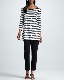 Joan Vass Striped Sequined Tunic & Slim Ankle Pants