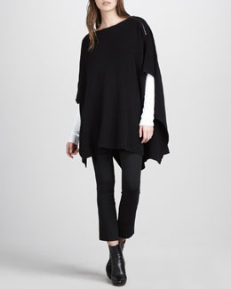Vince Zip-Shoulder Poncho, Dolman-Sleeve Tee & Cropped Leggings