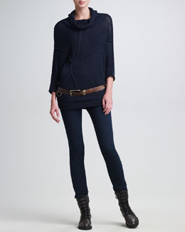 Donna Karan Knit Pullover, Seamed Stretch Pants & Distressed Leather Belt