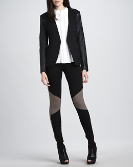 Theory Leather Open-Sleeve Blazer, Pleated Silk Blouse & Colorblock Leggings