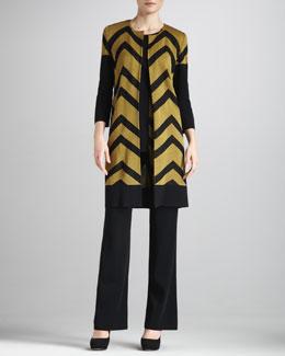 Misook Collection Chevron-Stripe Jacket, Basic Tank & Boot-Cut Pants