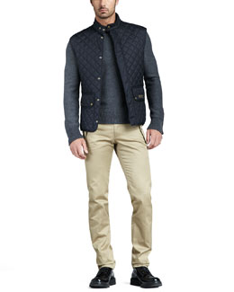Belstaff Quilted Two-Pocket Vest & Snap-Pocket Chino Pants