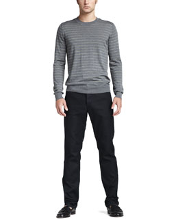 Theory Striped Wool Sweater & Slim Five-Pocket Pants