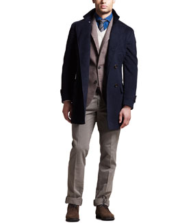 Brunello Cucinelli Double-Breasted Cashmere Coat, Peak-Lapel Blazer, Two-Ply V-Neck Sweater & Basic Flat-Front Pants