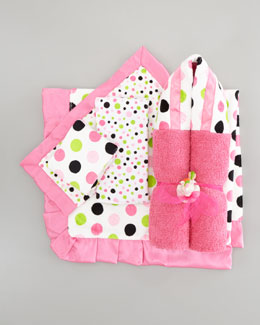Swankie Blankie Polka Dot Receiving Collection, Pink