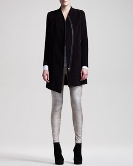 HELMUT Helmut Lang Stretch Moleskin Zip Coat, Kinetic Jersey Draped Top & Patina Leggings
