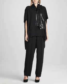 Eileen Fisher Silk Boxy Tunic, Antique Sequined Wrap & Silk-Georgette Pants, Women's