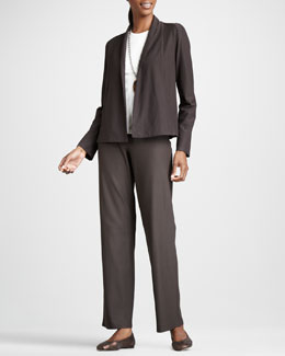 Eileen Fisher Short Stretch-Crepe Jacket, Long-Sleeve Tee & Washable Stretch-Crepe Pants, Petite