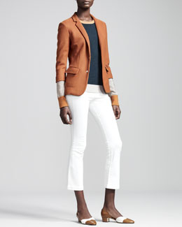 THE ROW Dondi Jersey Schoolboy Blazer, Colorblock Cashmere/Silk Pullover & Cropped Stretch-Denim Leggings