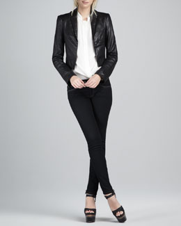 Rachel Zoe Bobby Cropped Leather Jacket, Miley Silk Blouse & Julie Skinny Jeans
