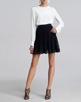 Oscar de la Renta Silk Cuff Links Blouse & Pleated Lace-Trim Skirt