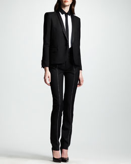 Saint Laurent Studded Gabardine Tuxedo Jacket, Two-Tone Voile Blouse & Tuxedo Pants