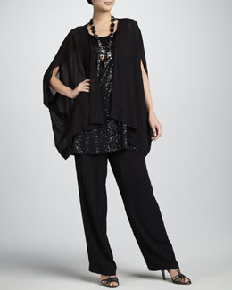Eileen Fisher Silk Georgette Jacket, Sequined Sleeveless Tunic & Silk Georgette Straight-Leg Pants