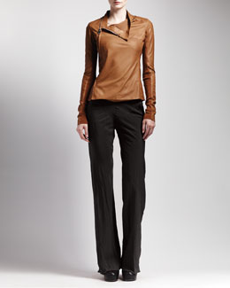 Rick Owens Side-Zip Leather Jacket & Bias-Cut Crepe Pants