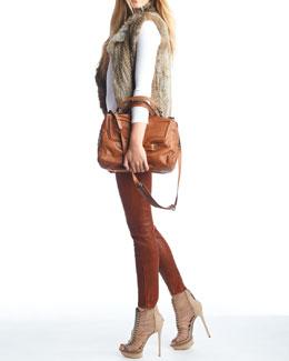 NM Luxury Essentials Fur Vest, Crewneck Top & Leather Skinny Pants