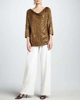 Eileen Fisher Sequined Drape-Neck Top & Wide-Leg Crepe Pants