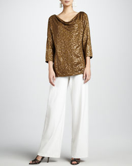 Eileen Fisher Sequined Drape-Neck Top & Wide-Leg Crepe Pants, Women's