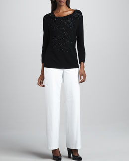 Eileen Fisher Beaded Wool Top & Wide-Leg Pants, Women's