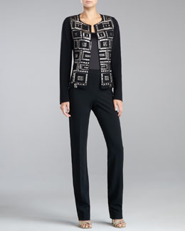 St. John Collection Beaded Double-Faced Crepe Jacket & Liquid Satin Shell
