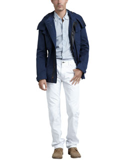 Rag & Bone Suspension Hooded Jacket, Yokohama Striped Sport Shirt & Slim White Jeans