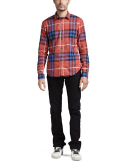 Burberry Brit Check Button-Down Shirt & Slim Black Jeans