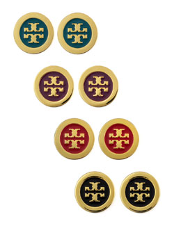 Tory Burch Enamel-Fill Logo Earrings